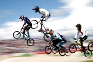 Kyle Evans of Great Britain (left) leads during a heat of the European BMX championships