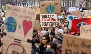 High school students demonstrate against global warming in Hamburg, Germany