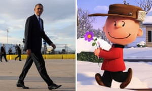 Composite: President Barack Obama, left, and Charlie Brown in The Peanuts Movie
