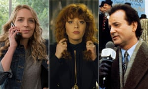 Jessica Rothe in Happy Death Day 2U, Natasha Lyonne in Russian Doll and Bill Murray in Groundhog Day.