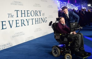 Eddie Redmayne and Stephen Hawking at the Theory of Everything feature film premiere at the Odeon, Leicester Square, in December 2014