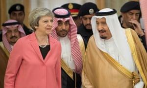 Theresa May with Saudi Arabia's King Salman bin Abdulaziz Al Saud