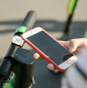 The scooters are controlled with a mobile phone app.