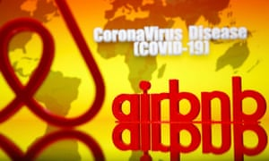 an airbnb logo next to a covid-19 graphic