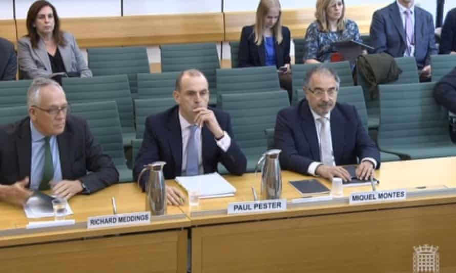 The TSB chairman, Richard Meddings, the chief executive, Paul Pester, and Sabadell's chief operating officer, Miguel Montes, appear before the Treasury select committee.