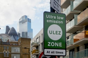 An ultra-low emission zone sign in London, England