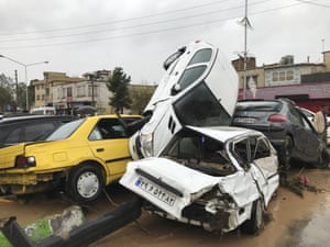 Cars piled up after a flash flood in Shiraz, Iran
