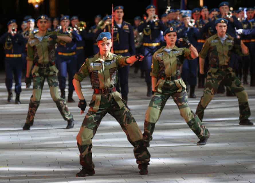 Dancers and musicians of the paratroopers band perform during the military music festival in September.