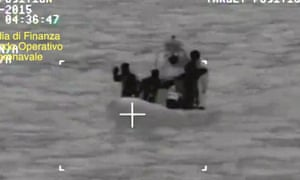 An infra-red screengrab provided by the Italian coastguard during the operation to rescue the migrants