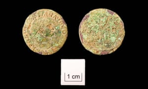 A coin from the reign of Emperor Vespasian found in Somerton, Somerset