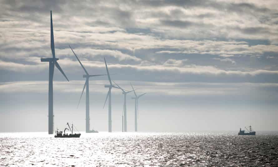 Windfarm off the coast of north Lincolnshire, England
