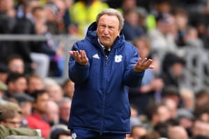 Cardiff City manager Neil Warnock reacts during the match against Fulham.