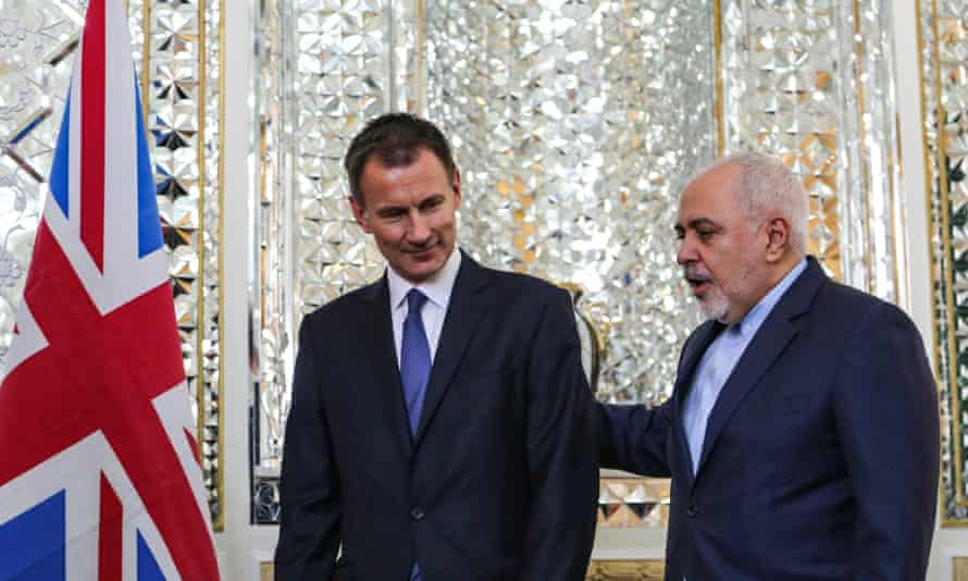 Javad Zarif (right), with his British counterpart, Jeremy Hunt, in Tehran.