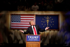 Donald Trump speaks at a campaign event at the Palladium in Carmel, Indiana.