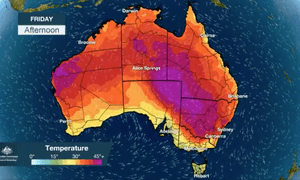 The weather forecast for the fifth day of Australia's record-breaking extreme heatwave