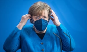 German chancellor Angela Merkel after speaking to the media following a virtual meeting of the European Council.