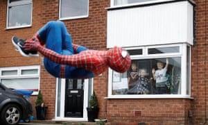 Stockport Spider-Men bringing smiles to children in lockdown.