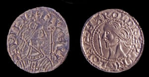 Coins from the Chew Valley hoard, from the reigns of Harold II (right) and William the Conqueror (left)
