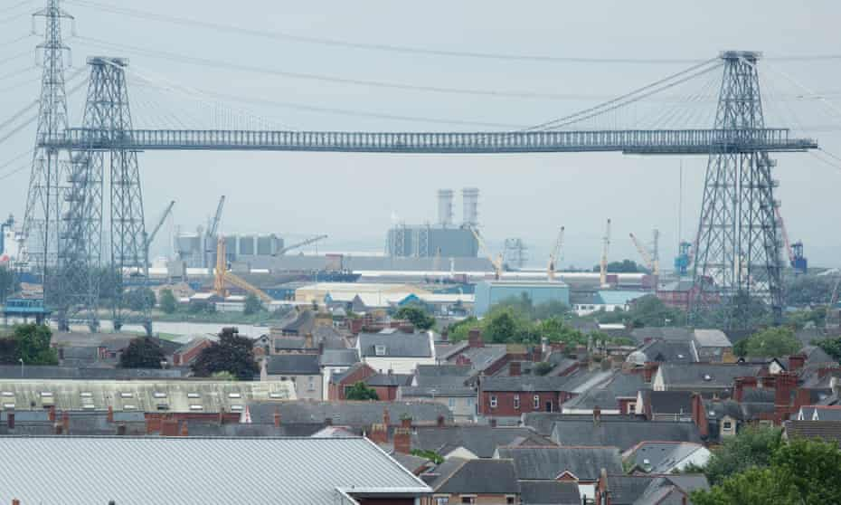 Newport's suburbs and the city's transporter bridge in background.