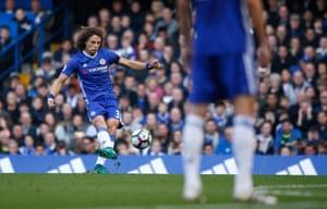 David Luiz sidefoots a free-kick against the post.