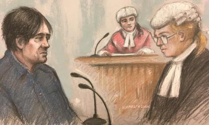 An artist's sketch of Darren Osborne in the witness box at Woolwich crown court in London.
