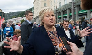 Erna Solberg, Norway's prime minister, campaigns for her Conservative party in Bergen.