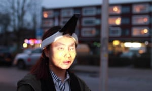 Design student Jing-cai Liu has created a wearable face projector to counter surveillance cameras.