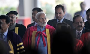 Prime Minister Narendra Modi (centre) arrives at the opening of the prestigious Indian Science Congress, in Jalandhar on 3 January.