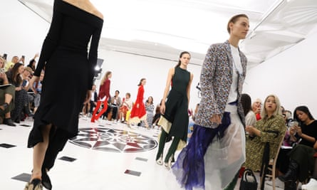 Models walk the runway at the finale of the Victoria Beckham show during London fashion week.