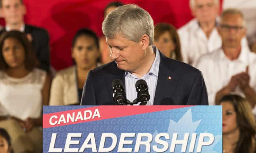 Canada's PM Harper speaks during a campaign stop.