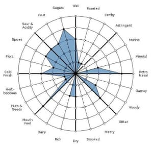 A flavor analysis of a craft beer, Dogfish Head's 120-minute IPA, mapped using the Gastrograph app. Each of the wheel's 24 spokes corresponds to a specific flavor, ranked from one to five in intensity. Most categories break down into submenus for an even finer analysis.