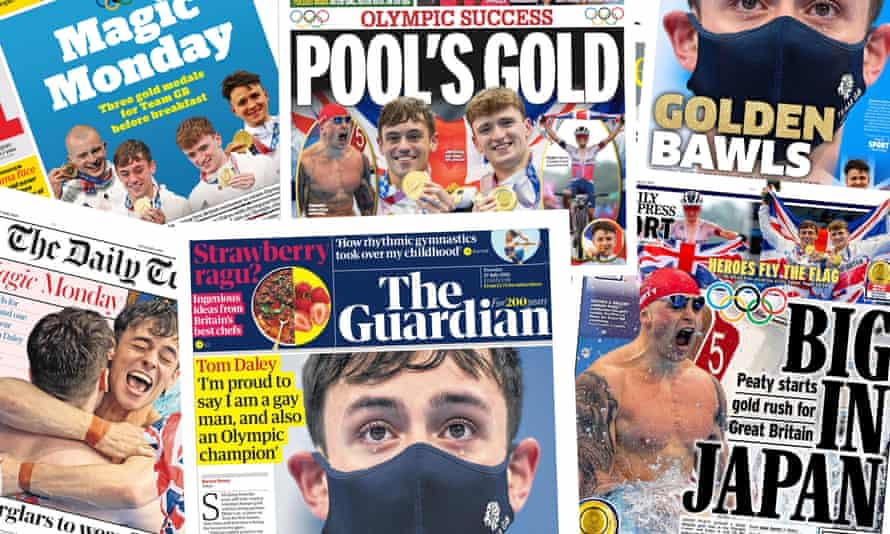 The UK papers on Tuesday 27 July 2021 after team GB scooped up 3 medals in the Tokyo 2020 Olympic games (held in 2021).