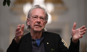 Austrian writer Peter Handke at the Nobel press conference in Stockholm on Friday.