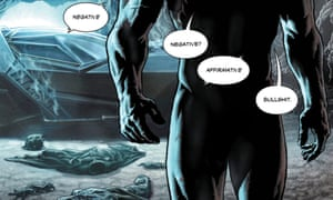 a panel from the digital edition of Batman: Damned #1, which disguises the outline of the caped crusader's penis.