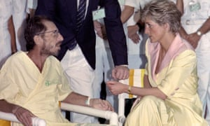 Princess Diana meeting a man infected with the Aids virus, during a visit to a hospital in Rio de Janeiro in 1991