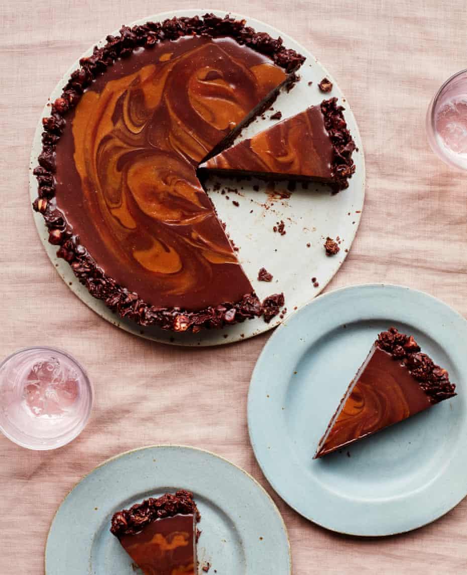 Ravneet Gill's dark chocolate and miso caramel tart.