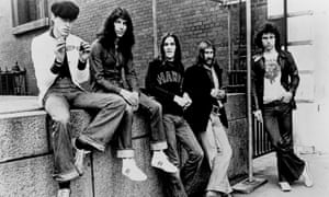 Hawkwind. Robert ( Bob) Calvert, Ade Shaw, Simon King, Dave Brock, Simon House. 1977 line-up Photo by Michael Ochs Archives/Getty Images