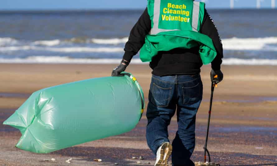 New Brighton, Wallasey: the New Brighteners, a self help group formed in the Wirral, have a formed a volunteer group to keep the shore and beaches clean of plastic litter.