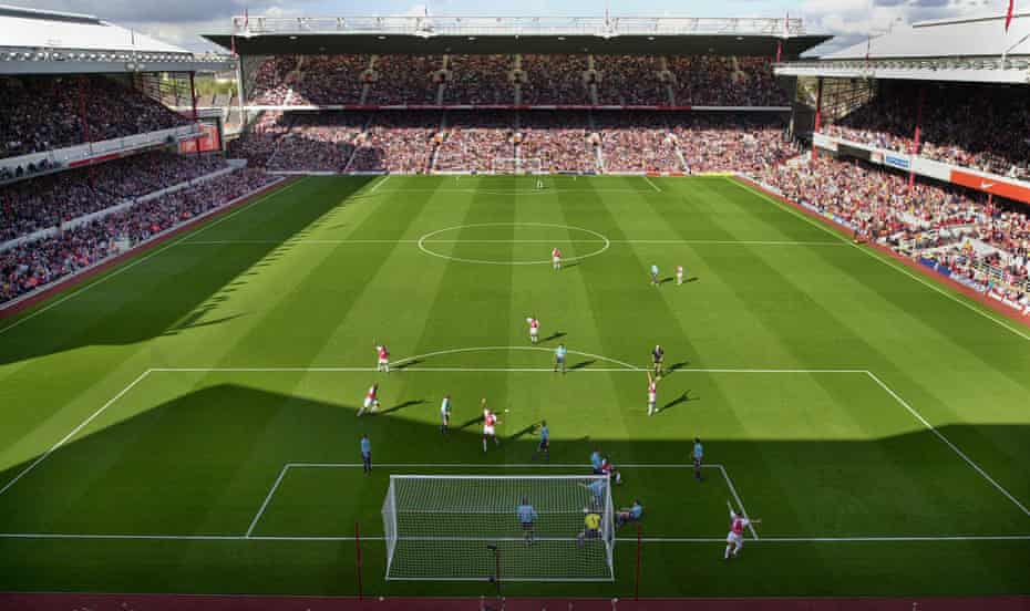 The view from the clock end at Highbury as Arsenal score the opening goal in their 3-1 win over Sunderland in October 2002