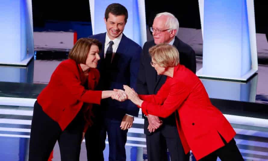 Amy Klobuchar, Pete Buttigieg, Bernie Sanders and Elizabeth Warren at the first night of the second Democratic debate in Detroit, Michigan, on 30 July.