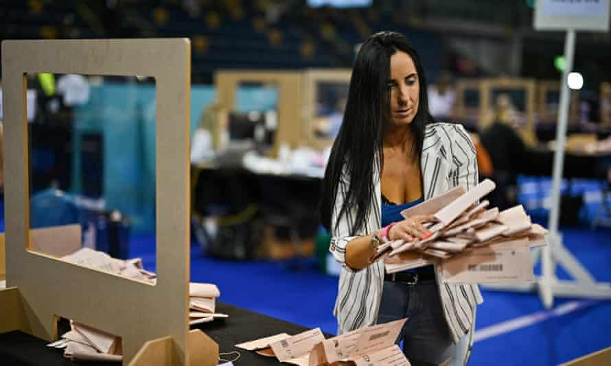 Counting staff continue for a second day at the Glasgow counting centre in the Emirates Arena.