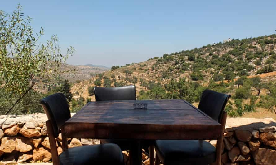 A table with a view: the patio at Hosh Jasmin overlooking the hills.