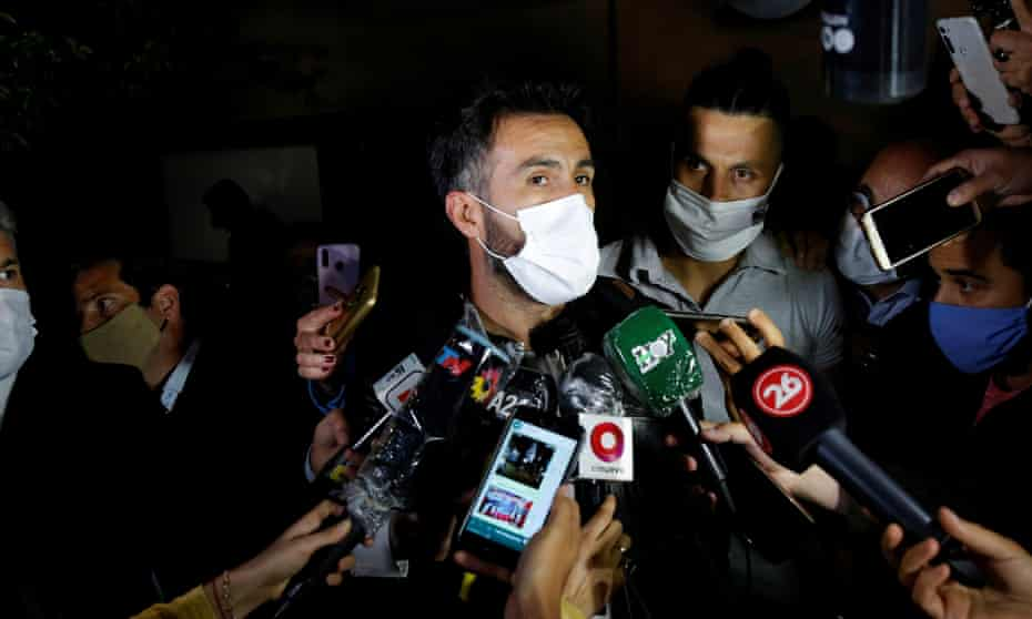 Dr Leopoldo Luque speaks to the press after Diego Maradona was admitted to the Ipensa medical clinic outside Buenos Aires.