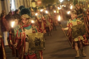Procession of torches during holy week in Valencia, Spain