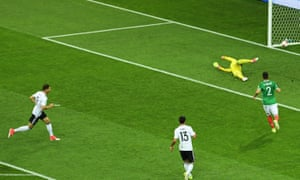 Leon Goretzka, left, scores Germany's opening goal against Mexico in the Confederations Cup semi-final.