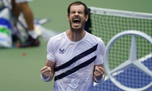 Andy Murray reacts after defeating Yoshihito Nishioka.