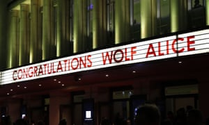 A sign at the Hammersmith Apollo congratulating Wolf Alice.