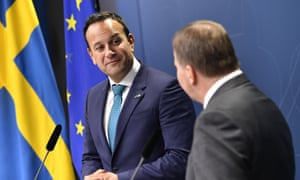 Leo Varadkar, left, in Stockholm, during a press conference with the Swedish PM Stefan Lofven
