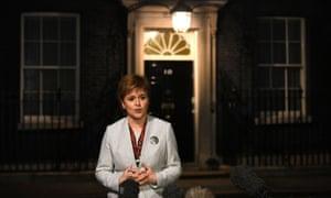 Nicola Sturgeon speaks to the media outside 10 Downing Street.