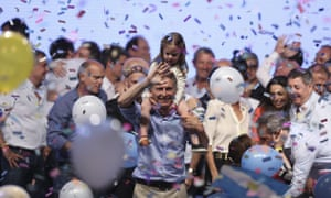 Mauricio Macri celebrates winning the Argentinian presidential runoff.